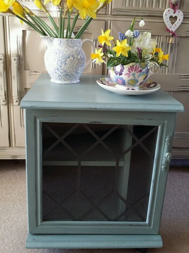 Shabby Chic BEDSIDE CUPBOARD CABINET TABLE UNIT Annie Sloan Duck