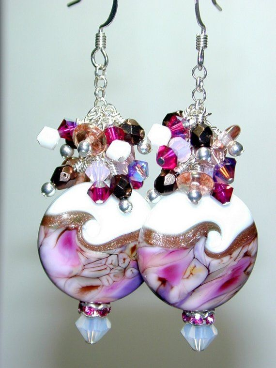 JBB Wicked Girly Pink Purple Goldstone HANDMADE Lampwork ...