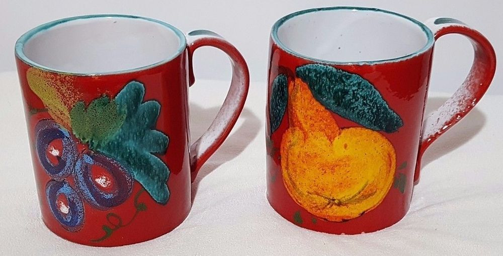 "Set of 2 Made in Italy Red Coffee Mugs Cups With Fruit 12 Oz 4"" Tall"