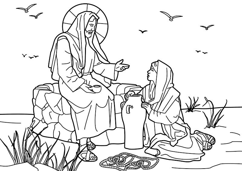 Jesus And The Samaritan Woman At The Well Bible Coloring Page