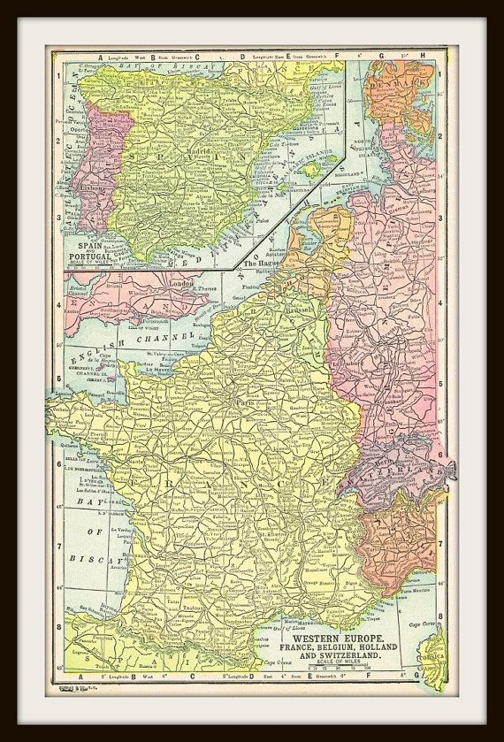 Antique Map FRANCE BELGIUM HOLLAND & Switzerland by KnickofTime