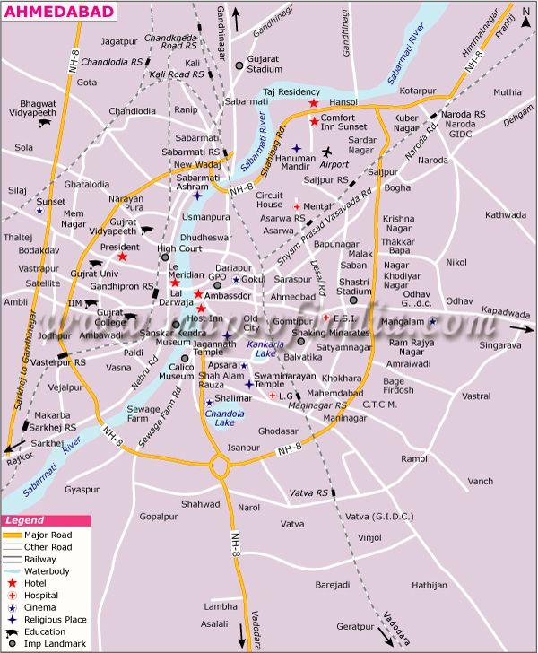 Ahmedabad City Map  City Maps of India  Pinterest  Ahmedabad