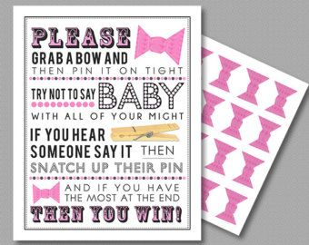 Pink Clothespin Game For Baby Shower 5x7 U0026 8x10 PDF Instant Download  Printable
