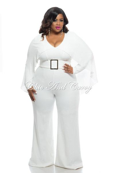 fa566822969 Final Sale Plus Size Jumpsuit with Attached Cape and Wide Legs in Off White