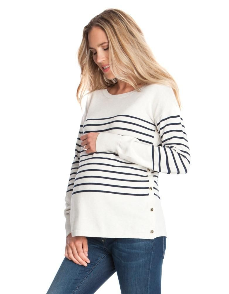 a969011549e7d Breton Side Snap Nursing Sweater | Seraphine | Nautical sweater for  pregnancy | Striped sweater for breastfeeding