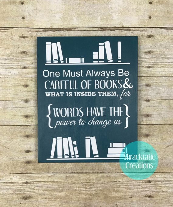 Power of Books Quote Sign Books Wood Canvas Library