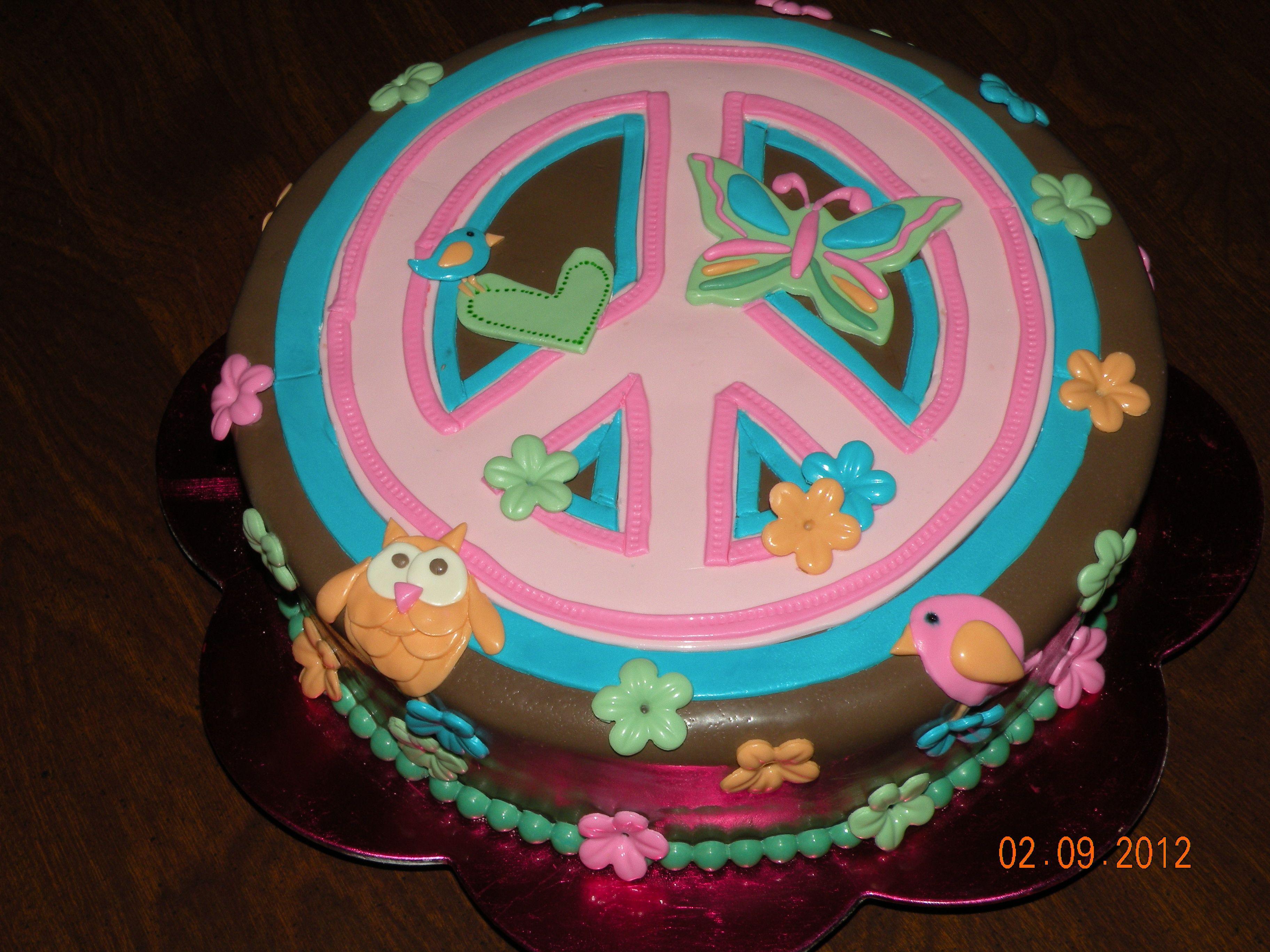 Enjoyable Peace Sign Cake Dessert Cake Recipes Unique Birthday Cakes Cake Personalised Birthday Cards Cominlily Jamesorg