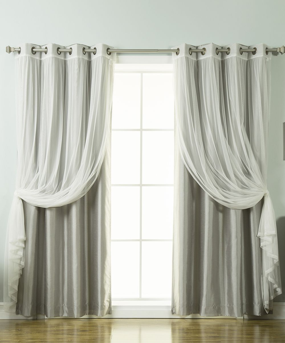 Gray Tulle Lace & Faux Silk Curtain Panel - Set of Four