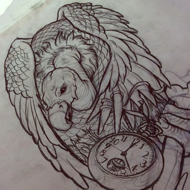 sketch for upcoming halfsleeve tattoo vulture pocketwatch stopwatch time bird bone tattoo inspiration pinterest vulture buzzard and regrets