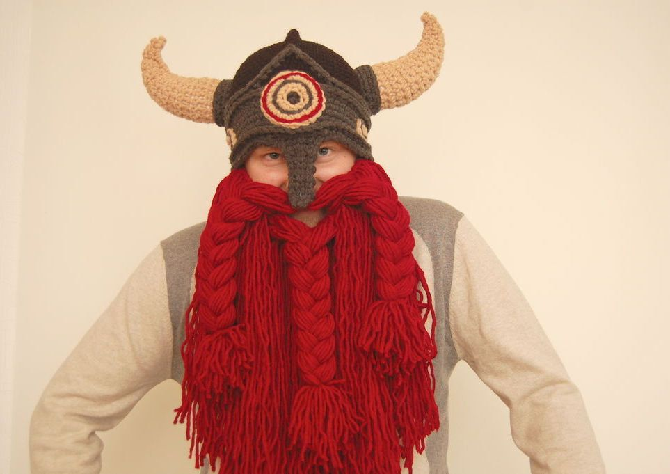 red beard viking crochet helmet boyfriend gift handmade viking hat