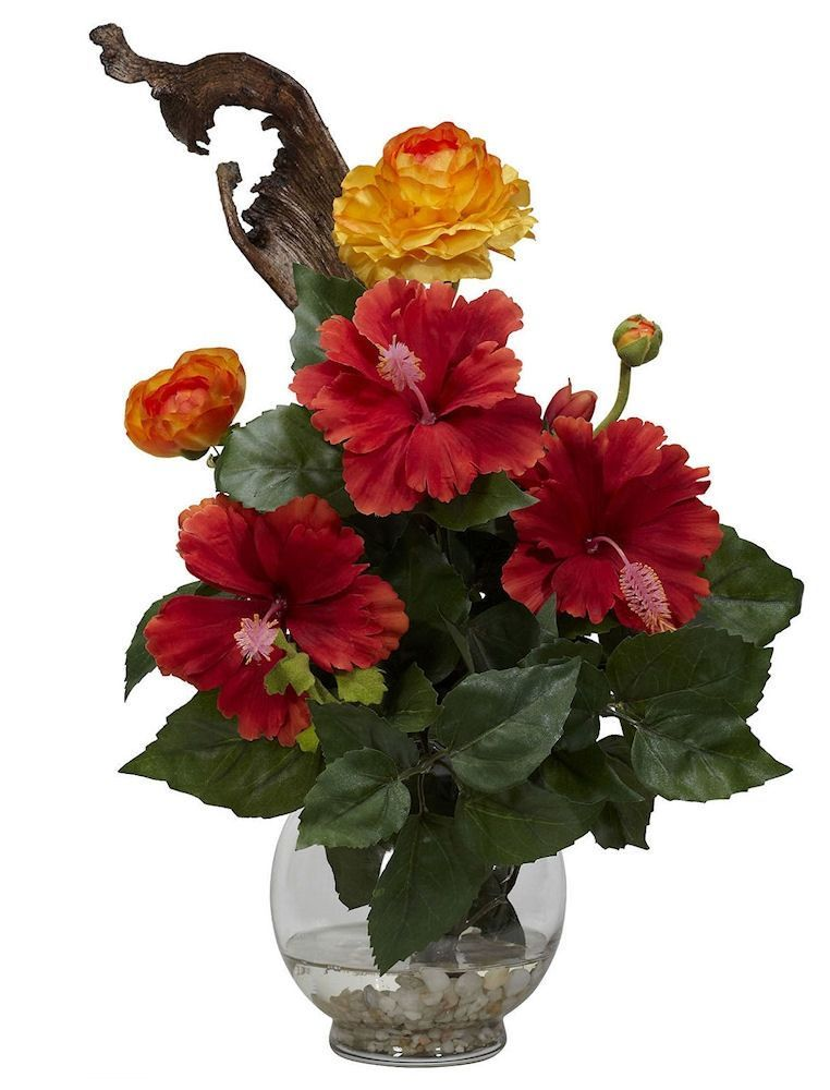 Hibiscus & Ranunculus Silk Flowers in Water   16 inches