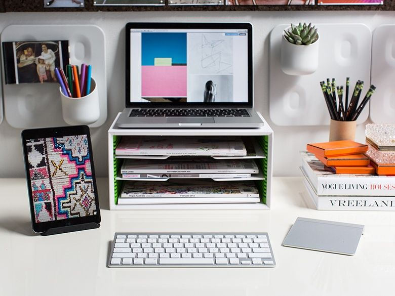 A Slotted Filing Tray Stand Under The Monitor Is A Great Way To Organize And Help With Y College Dorm Room Organization Desk Organization Diy Room Organization