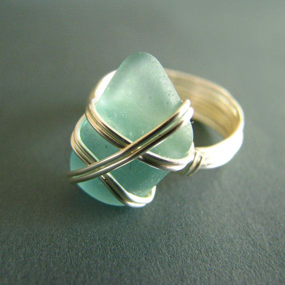 Summer Statement Aqua Sea Glass Statement Ring:  24K Gold Wire Wrapped Ring Size 7 Mint Green Large Stone Beach Jewelry