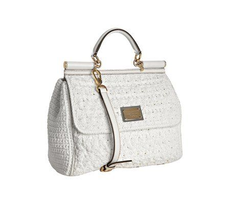 c34cca7bff88  1356.00 Dolce   Gabbana White Crochet Miss Sicily Top Handle Bag   DolceGabbana  Lyst