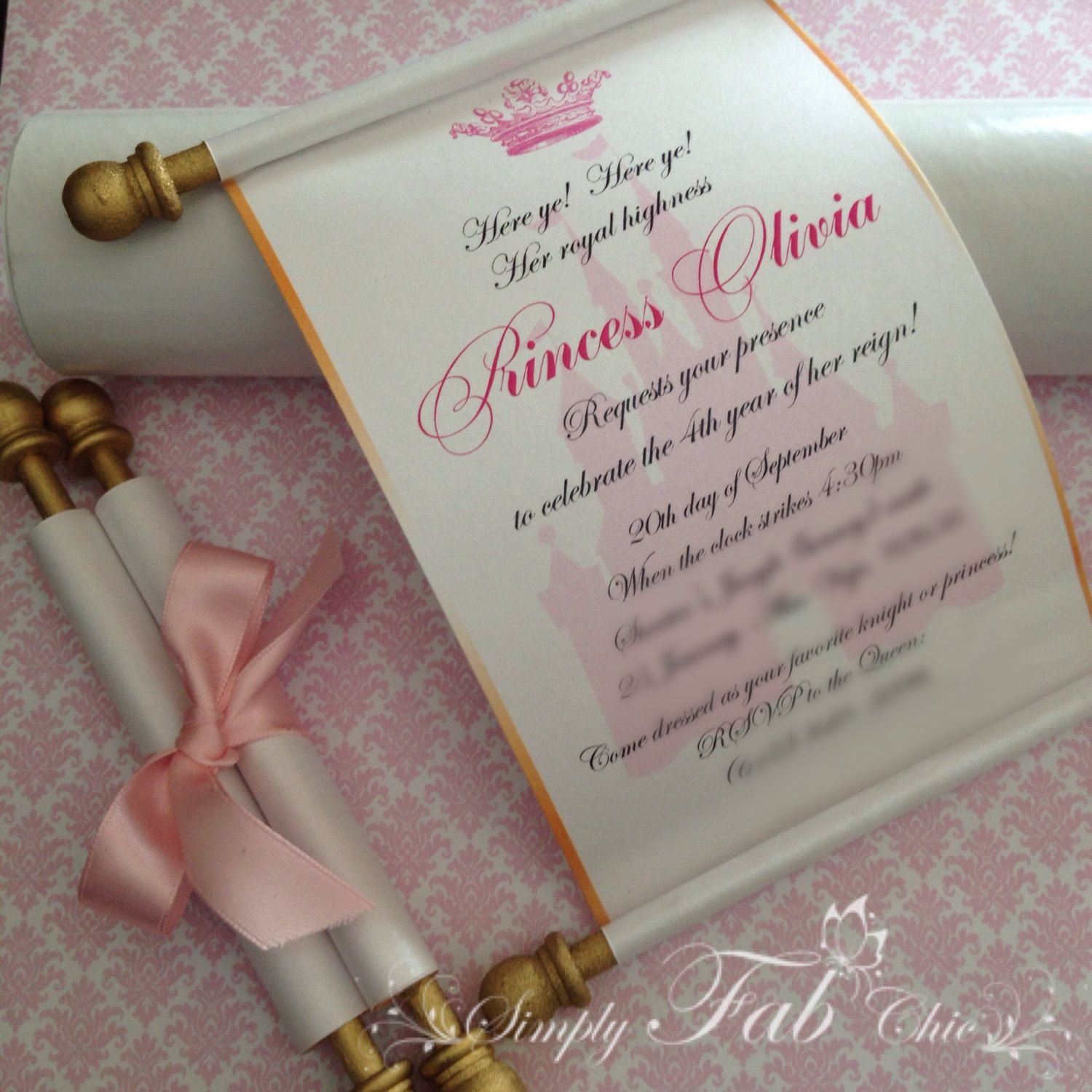 Royal Disney Princess Scroll Invitation Birthday By Simplyfabchic