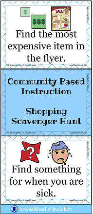 Best Task Card Set for Grocery Store (or flyer) Scavenger Hunt via NoodleNook.Net. Perfect for LIFE Skills classes!