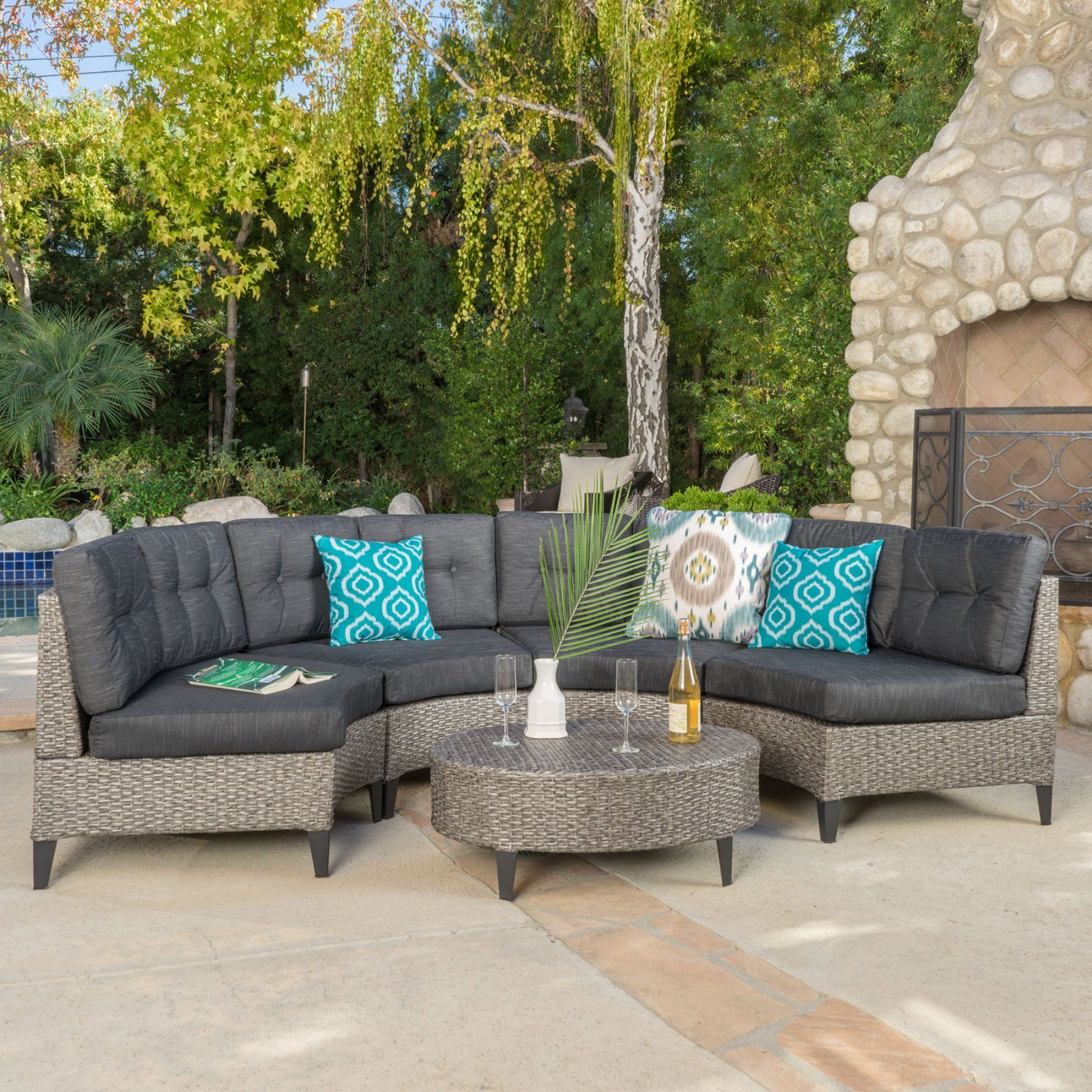 Outdoor Best Selling Home Navarro 5 Piece Patio Wicker Sofa Set