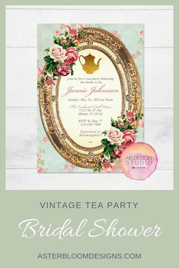 Bridal Shower Invitation Vintage Tea Party Invite High Tea