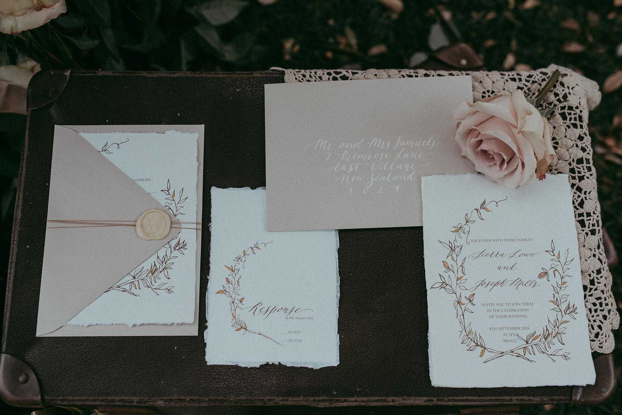 Calligraphy And Botanical Floral Wedding Invitation Suite Inkberry
