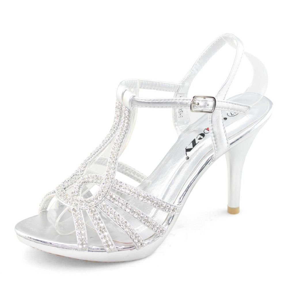 f78bbce560f Low Heel Prom Shoes Silver