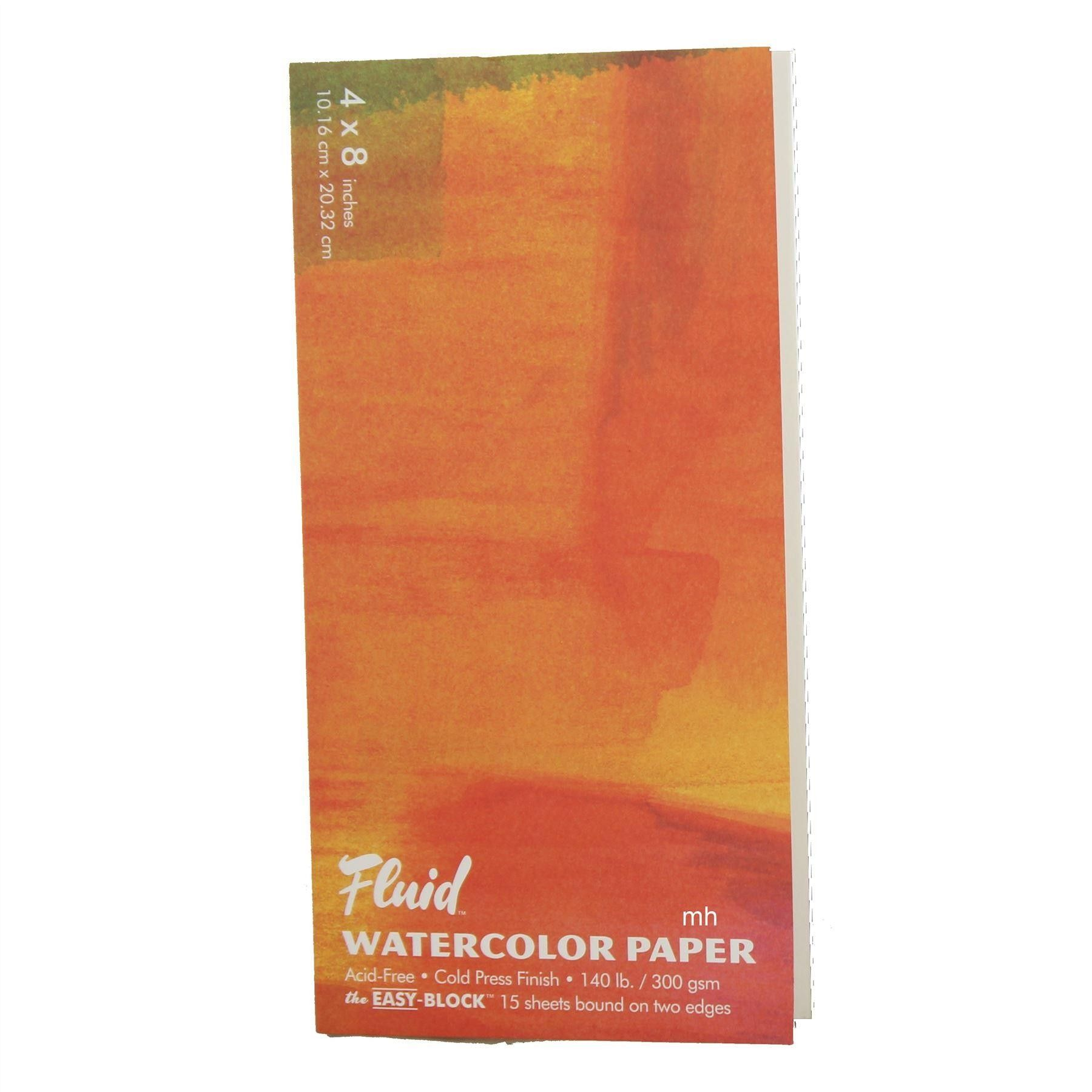 Fluid Cold Presssed Watercolour Paper Block Various Sizes 15