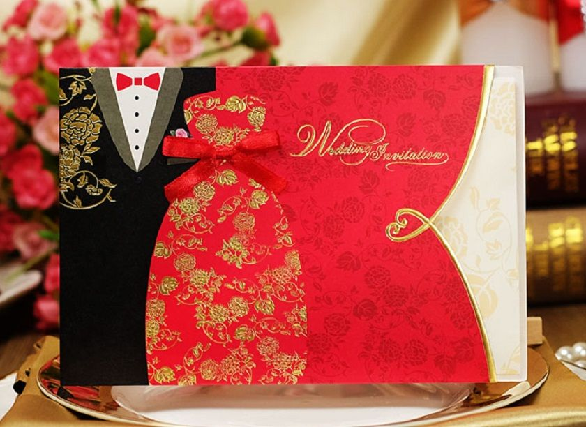 Oriental Bride And Groom Wedding Invitation Card Black And Red