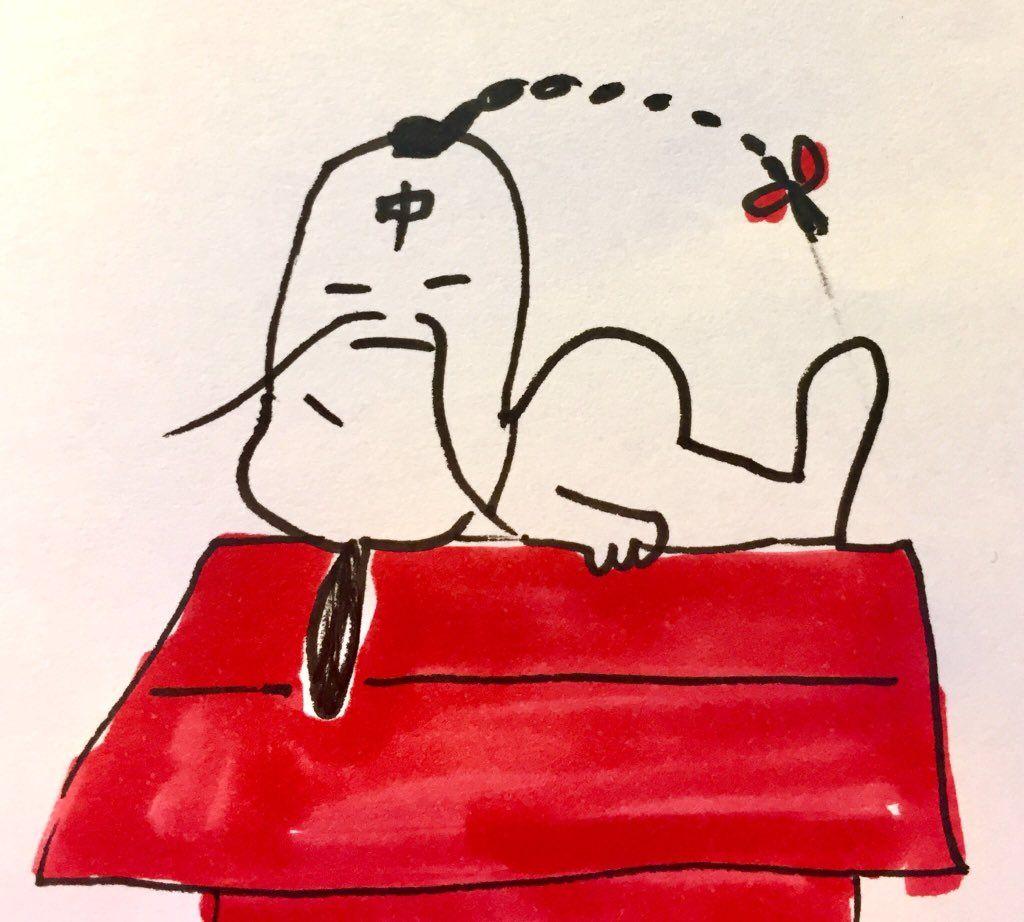 発想の勝利w屋根の上で寝ているスヌーピーに落書きするとラーメンマンになるwww 話題の画像プラス スヌーピー 落書き 発想