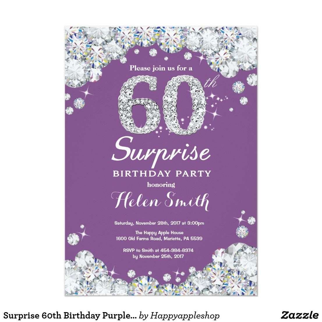 Surprise 60th Birthday Purple And Silver Diamond Invitation