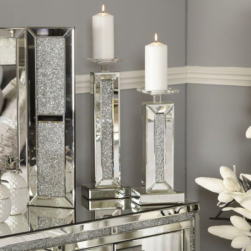 5 tier Candle Holder Sparkly Silver crushed Diamond//glass Crystal Faceted Balls