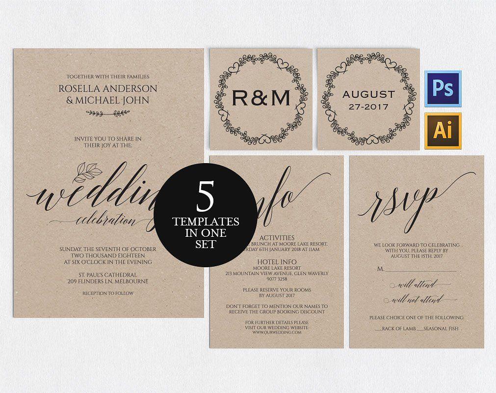 Wedding Invitation Template Wpc3 By Weddingprintablesco On