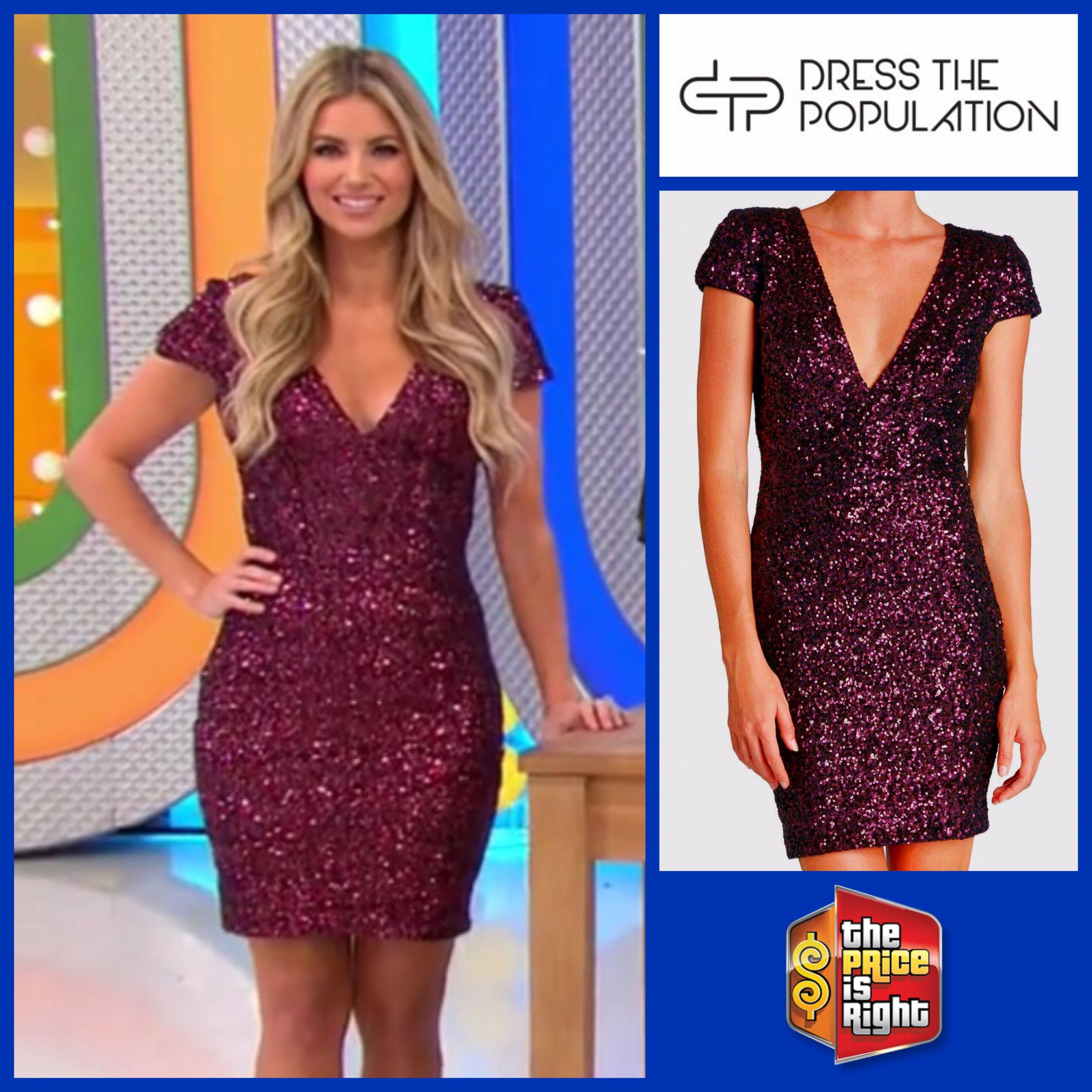 205292ab0918 DRESS THE POPULATION Zoe Sequin Plunging V-Neck Bodycon Minidress in Wine  worn by Amber Lancaster