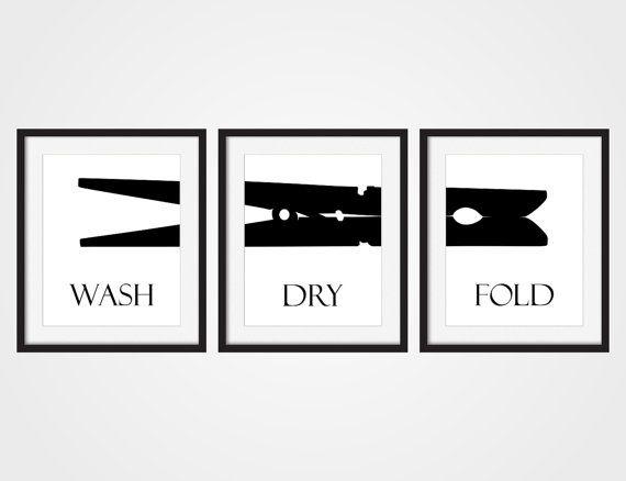 Laundry Room Wall Art Print Wash Dry Fold Black White Art Set