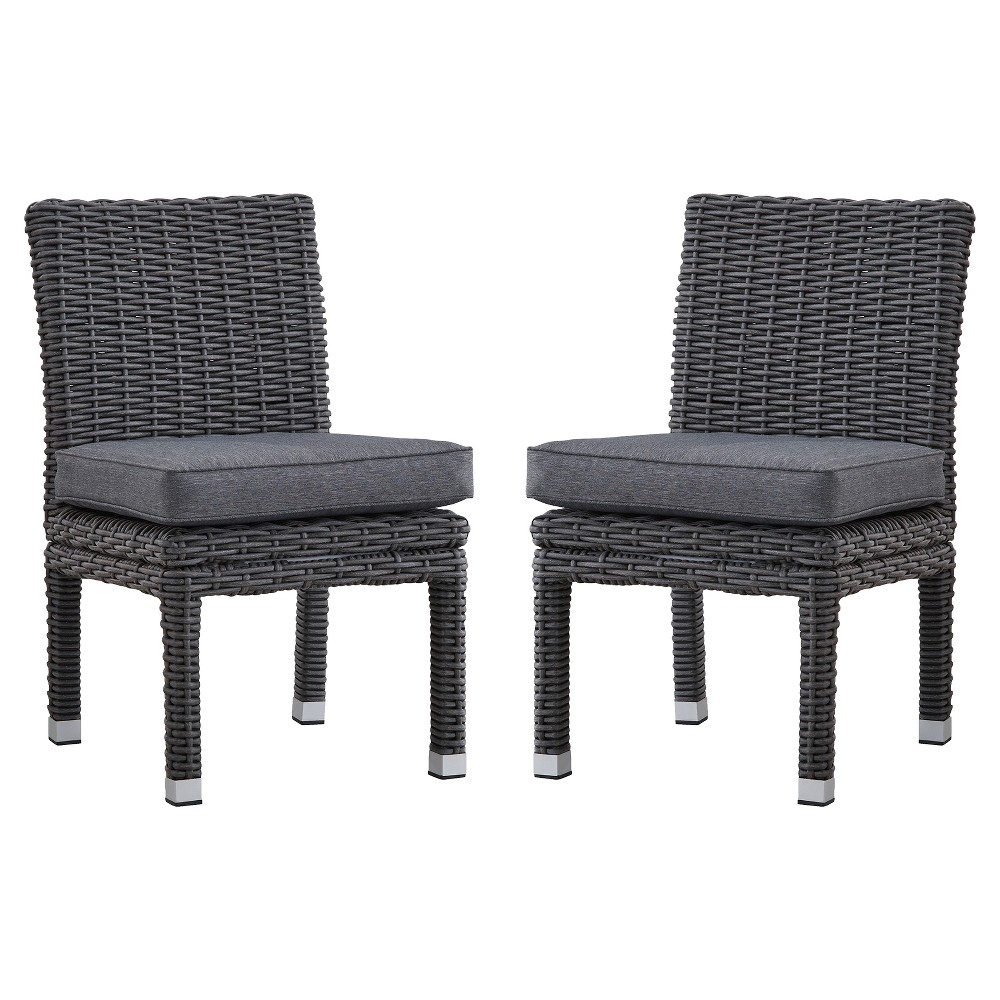 Riviera pointe pc wicker patio dining side chair charcoalgrey