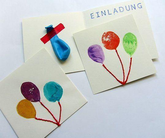 Schöne Luftballon Einladungen selbst gemacht