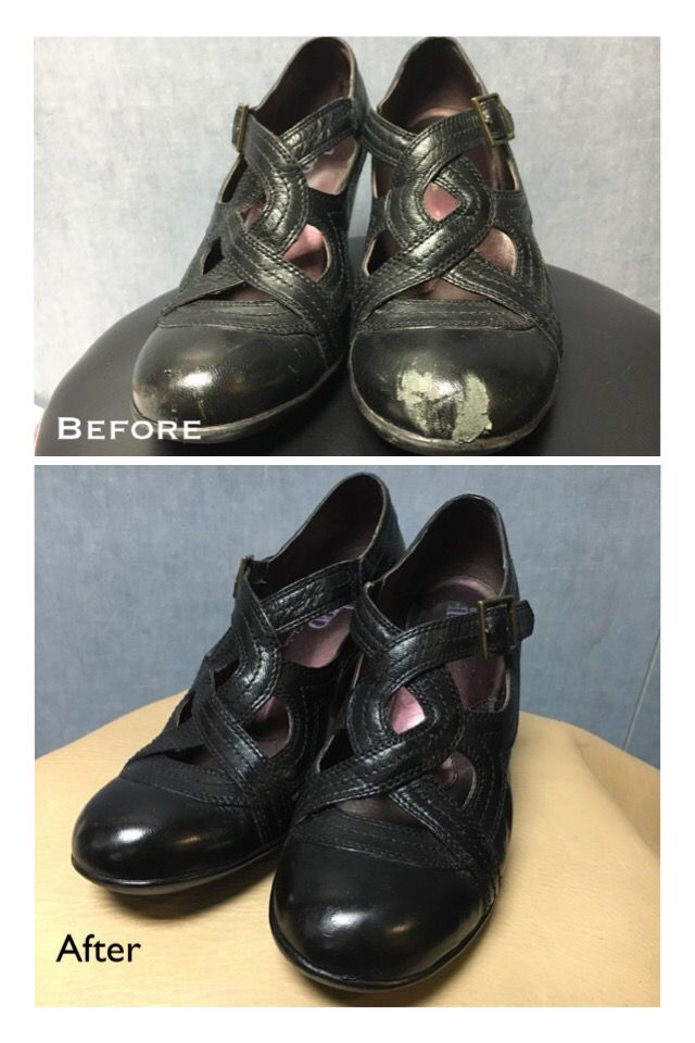 Before and after of a pair of scuffed black boots Shoe Cobbler aac442de15b