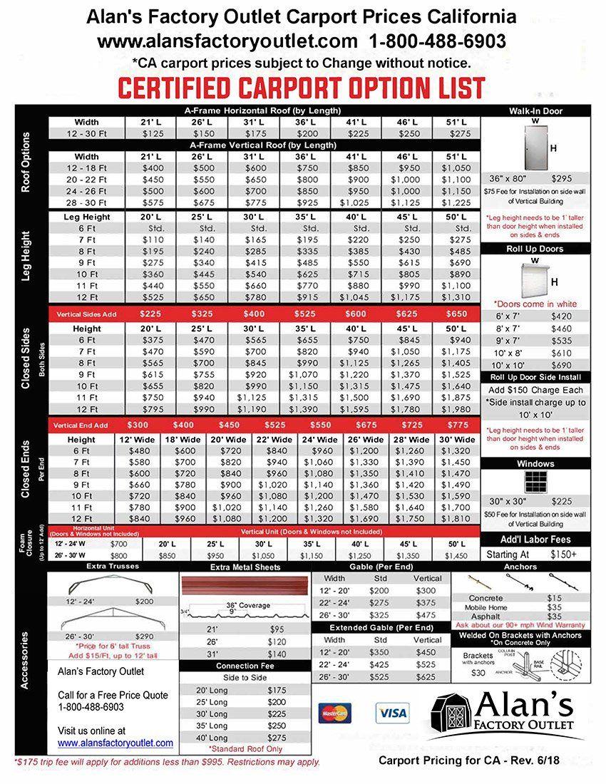 California Carport Prices Metal Carports Price List In Ca