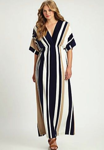 Melissa Masse Plus Size Striped Maxi Dress