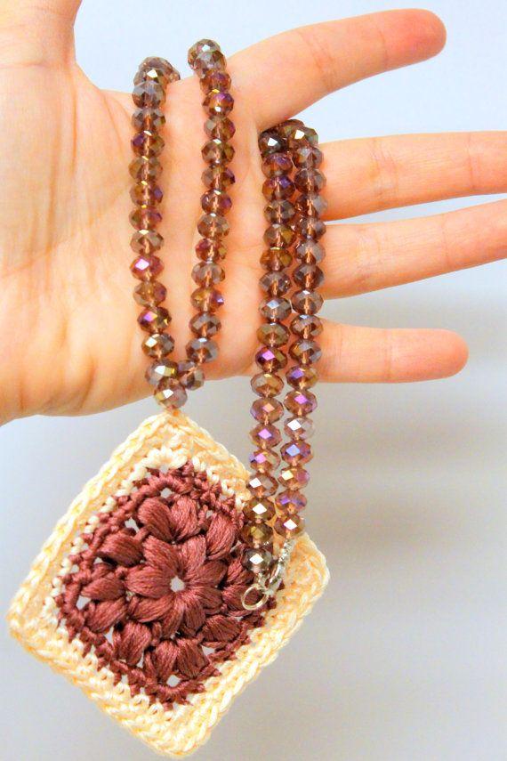 Boho Necklace Crocheted Necklace Crystal by AllFOURLoveCrochet