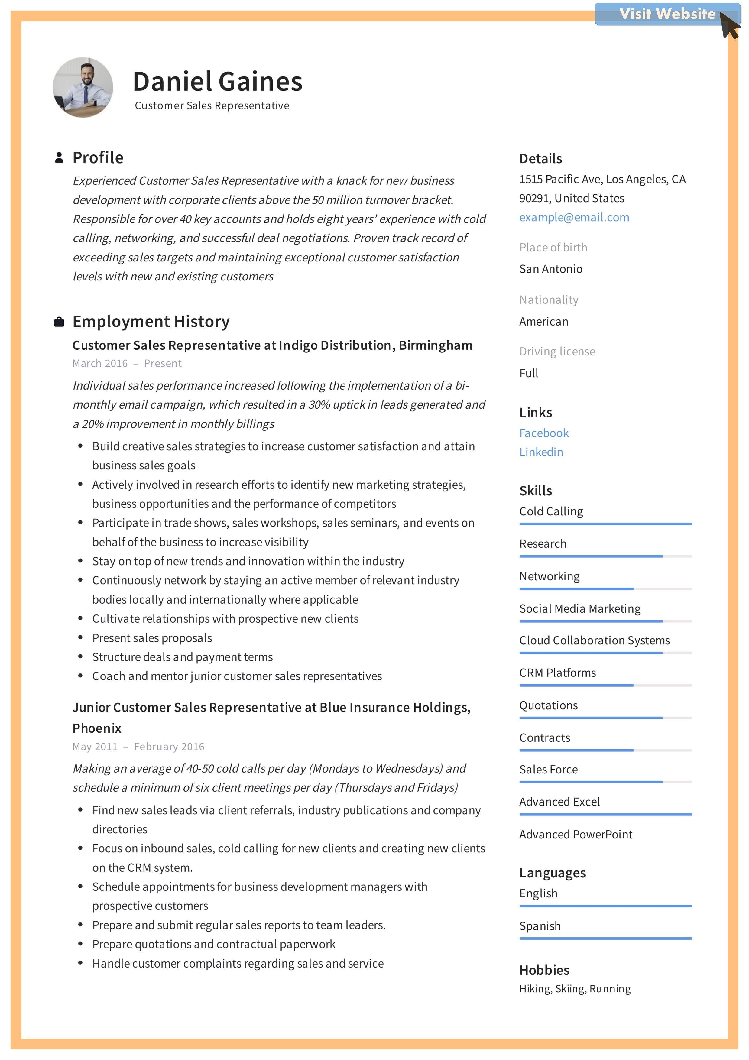 Customer Service Resume Template Free In