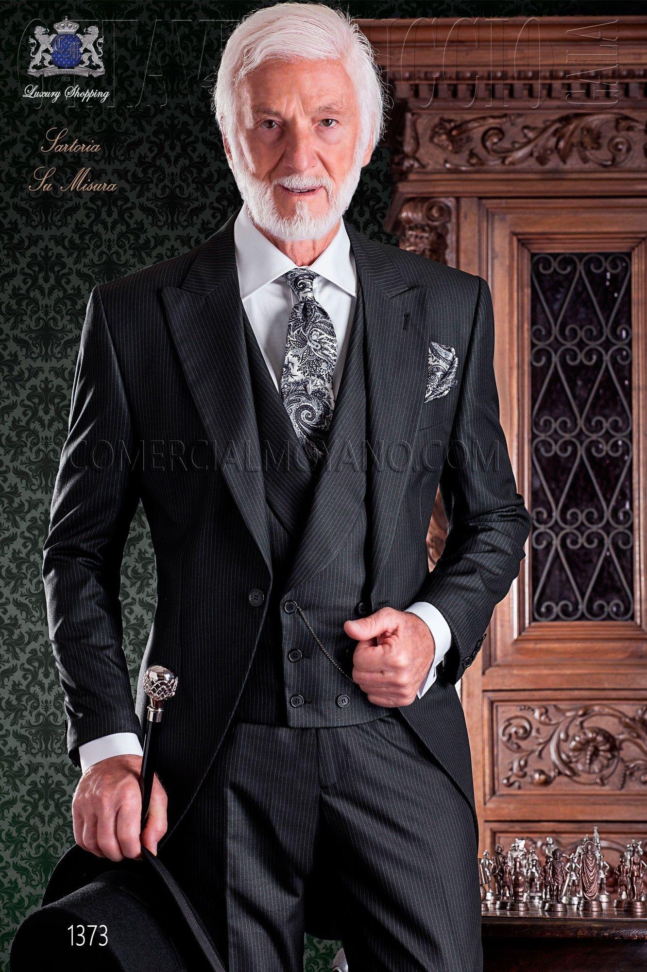 """Frock coat elegant Italian tailoring cut """"Slim"""" Pinstriped fabric"""
