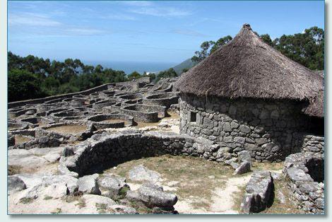 Celtic ruins of Castro de Santa Tegra, southern Galicia ...