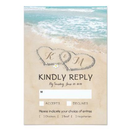 tropical vintage beach wedding rsvp entree choices card