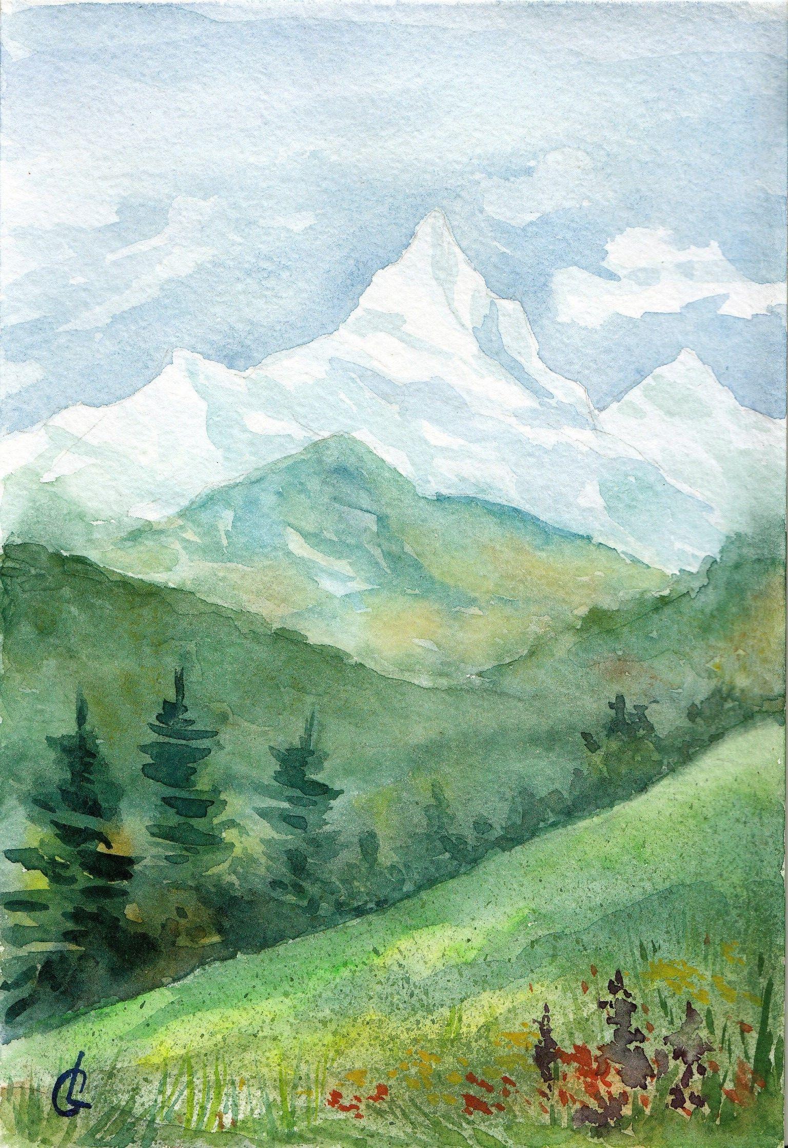 горы, акварель, пейзаж, живопись, творчество, зарисовка