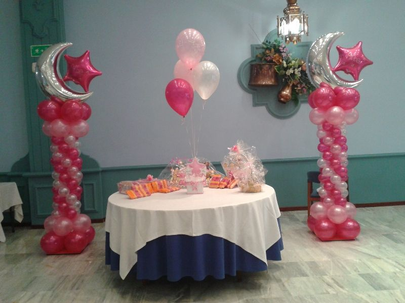 decoraciones globos comunion niña - Google Search columnas