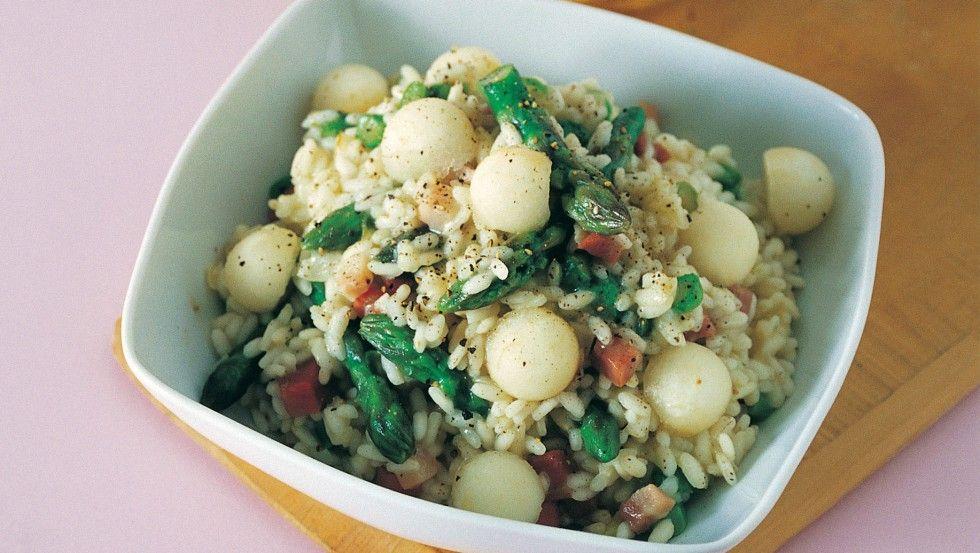 Risotto alle punte di asparagi e pere ricetta