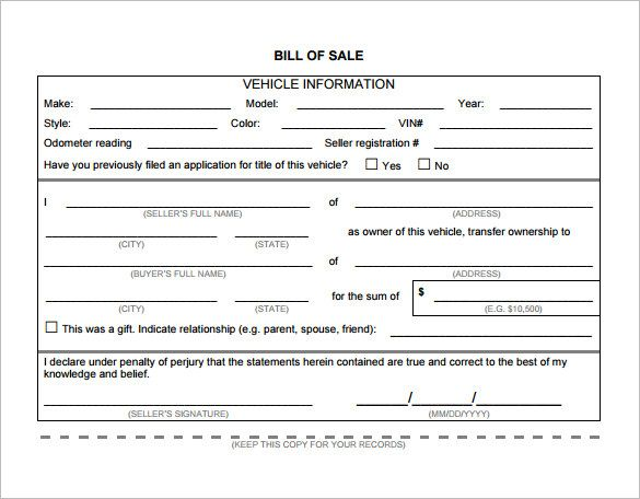 Bill of Sale Template Word, Excel  PDF Templates www