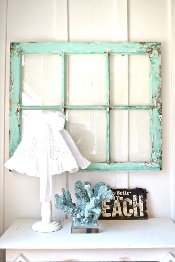 Heavy old vintage window Wall decor Shabby beach by Anniesimages ...
