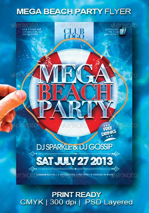 Mega Beach Party Flyer  Flyer Size Party Flyer And Flyer Design
