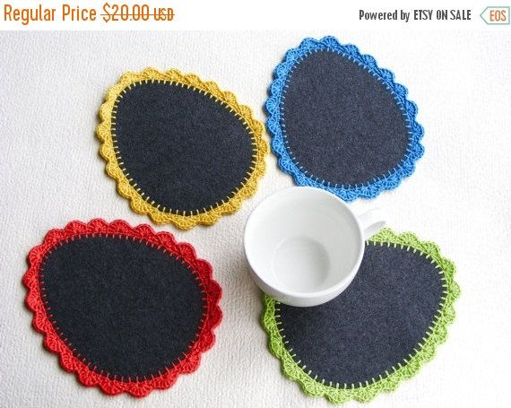 SALE 50% Easter coasters wool crochet coasters set of 4 by NatkaLV