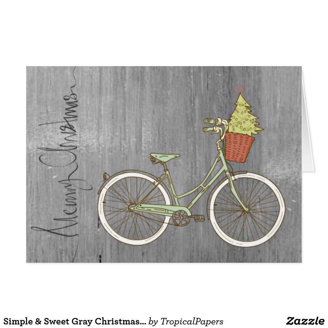 Simple & Sweet Gray Christmas Bike Card | Art | Pinterest
